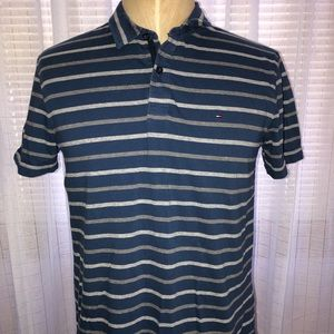 Tommy Hilfiger Blue Stripped Short Sleeve Polo